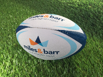 custom miles & barr rugby ball